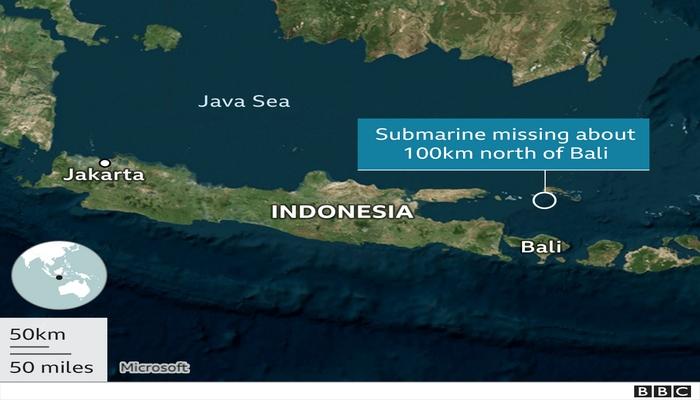Missing Indonesian submarine believed 700 metres underwater